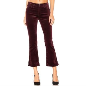 "Rag & Bone Velvet Wine 10"" High Crop Flare Pants"